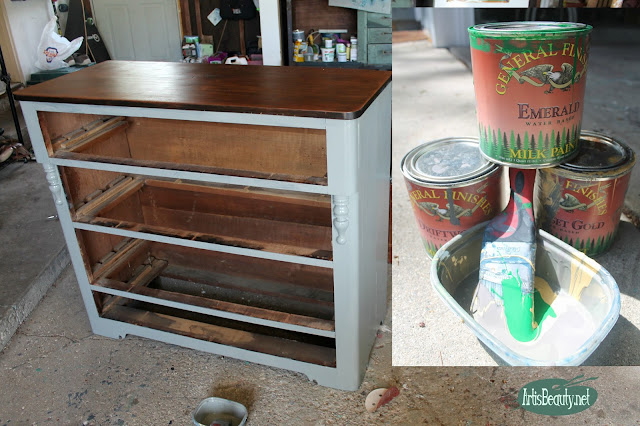 custome general finishes paint color emerald driftwood and somerset gold diy painted dresser makeover