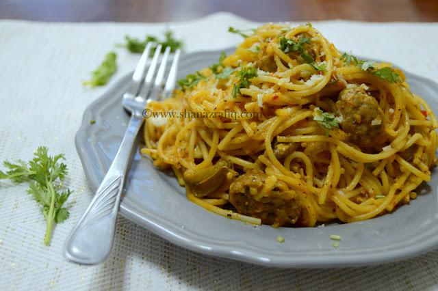 Creamy Meatball & Mushroom Spaghetti