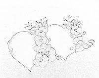 risco de coracao e flores