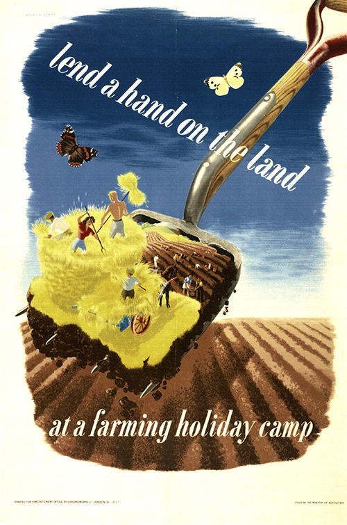 advertising, classic posters, food, free download, free posters, free printable, graphic design, printables, public service announcement, retro prints, vintage, vintage posters, vintage printables, Holiday Farming Camp, Lend a Hand on the Land - Vintage Advertising Poster
