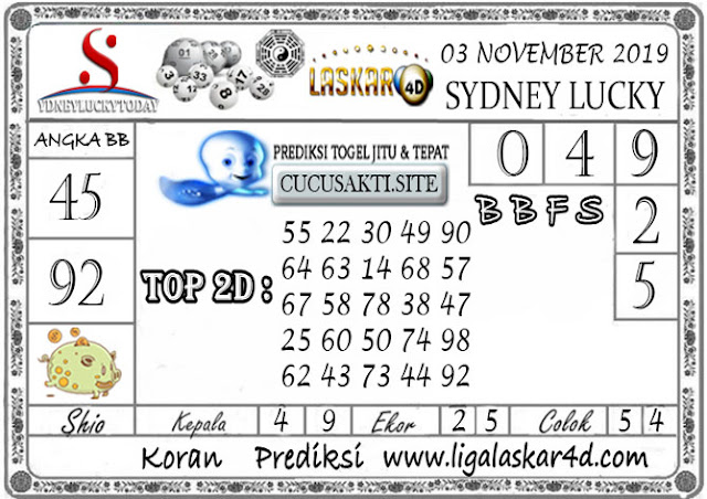Prediksi Sydney Lucky Today LASKAR4D 03 NOVEMBER 2019