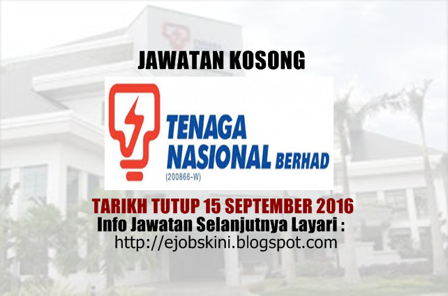 jawatan kosong tenaga nasional berhad (tnb) september 2016