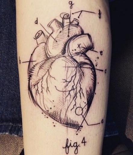 Esboçou Coração De Tatuagem