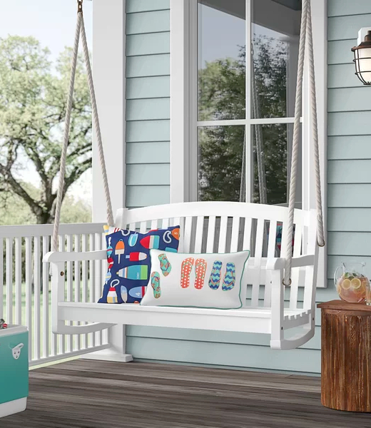 White Porch Swing with Rope