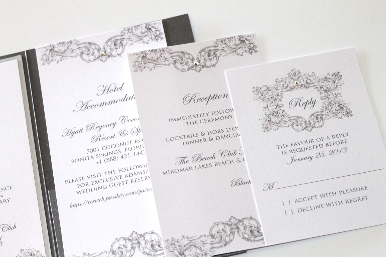 Frog Wedding Invitations: Custom Vintage Couture Wedding Invitation With Ostrich