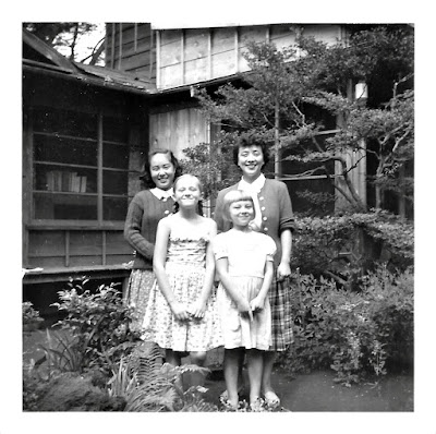 Elena and Tatiana Vassilieff aka Elena Vasilev and Tanya Sarsfield, in early 1950's Tokyo, Japan