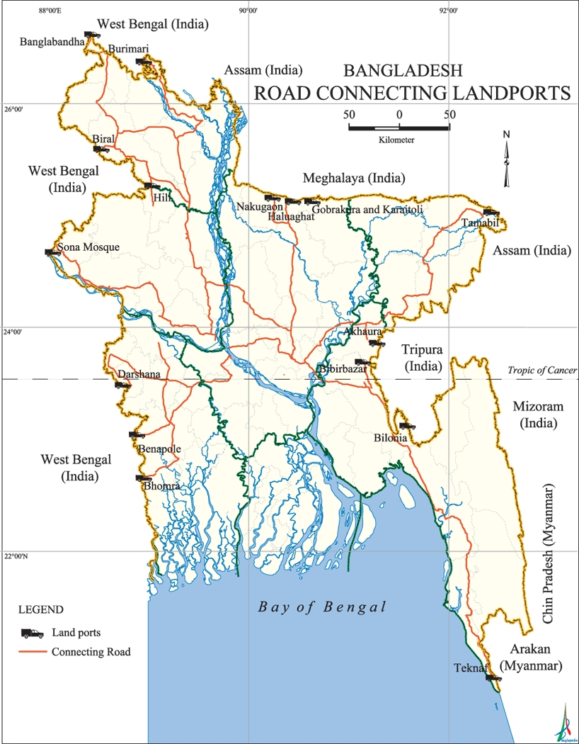 Road Connecting Landports Map Bangladesh