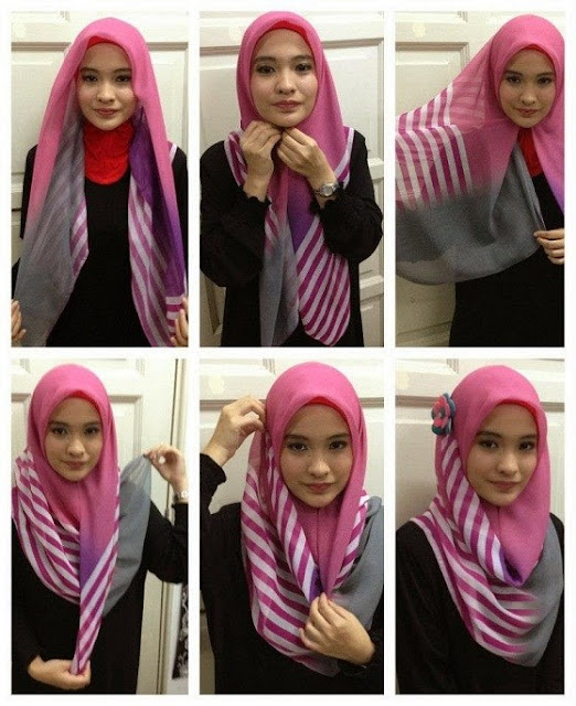 Cara Memakai Jilbab Segi Empat Lengkap Dengan Gambarnya