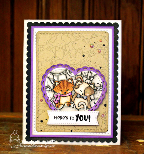 Cat card by Larissa Heskett | Company of Cats Stamp Set and Frames & Flags die set by Newton's Nook Designs #newtonsnook