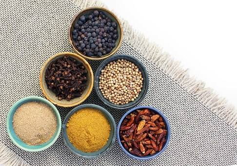 bowls of Indian spices