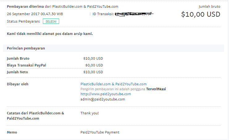 Paid2YouTube Payment Proof