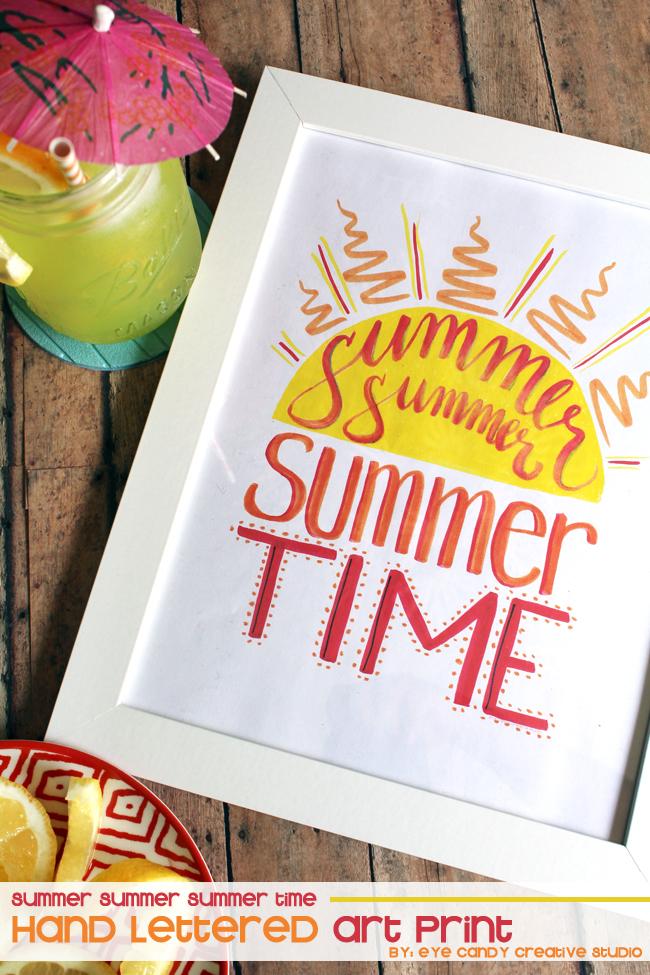 summer summer summertime, hand lettering, art print, freebie, sun