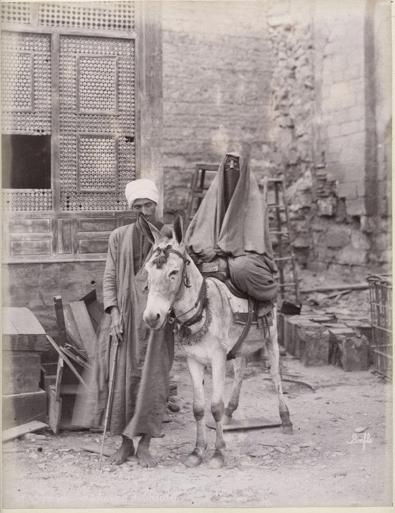Man with a Veiled Woman on Donkey - Egypt c1880's