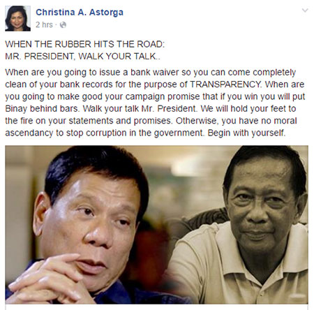 WHEN THE RUBBER HITS THE ROAD: MR. PRESIDENT, WALK YOUR TALK.. When are you going to issue a bank waiver so you can come completely clean of your bank records for the purpose of TRANSPARENCY. When are you going to make good your campaign promise that if you win you will put Binay behind bars. Walk your talk Mr. President. We will hold your feet to the fire on your statements and promises. Otherwise, you have no moral ascendancy to stop corruption in the government. Begin with yourself.