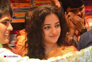 Actress Nithya Menen Pictures in Silk Saree at Kalamandir 25th Store Launch  0020