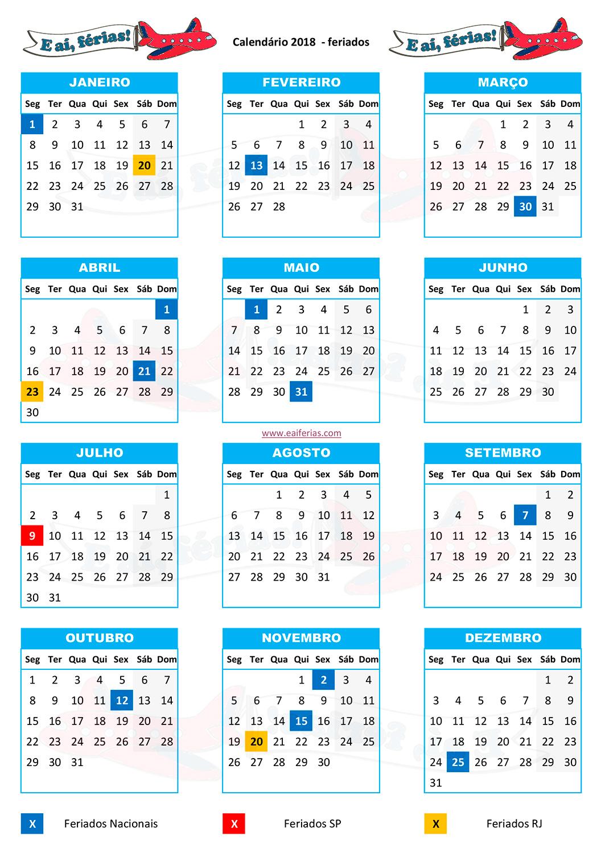 Feriados 2018 bora agendar essas f rias direito e a for Calendario ferias