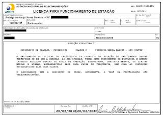 Licença para funcionamento de estação - ANATEL