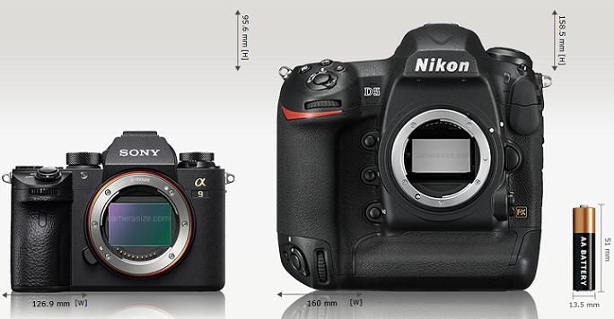 Сравнение габаритов Sony A9 и Nikon D5