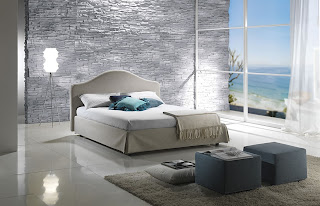 Habitación en turquesa y gris