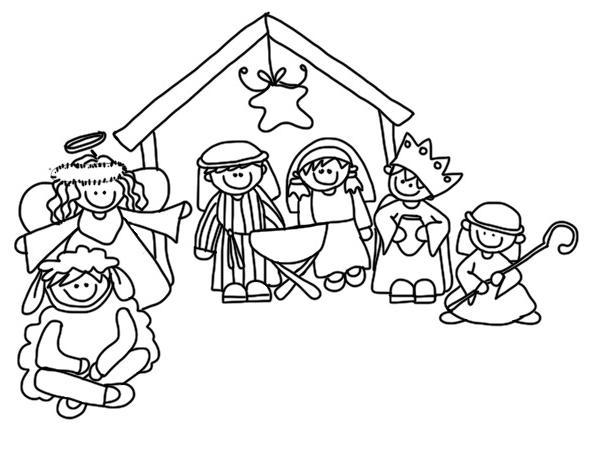 Kerststal Figuren Kleurplaten.Kleurplaat Kerststal Figuren Kleurplaat Kerstfiguren
