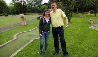 Emily and Richard Gottfried at the Wellholme Park Crazy Golf course in Brighouse