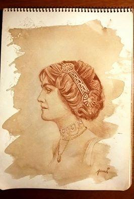 Retrato de dama de perfil, café y sanguina
