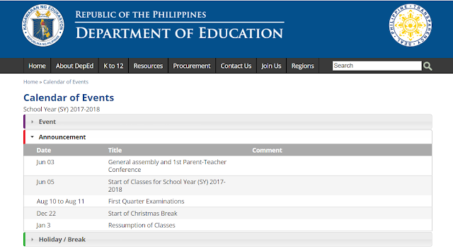 Deped Calendar Of Events For School Year Sy 2017 2018 Deped Tambayan