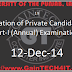 Registration of Private Candidates for M.A. Part-I (Annual) Examination, 2015