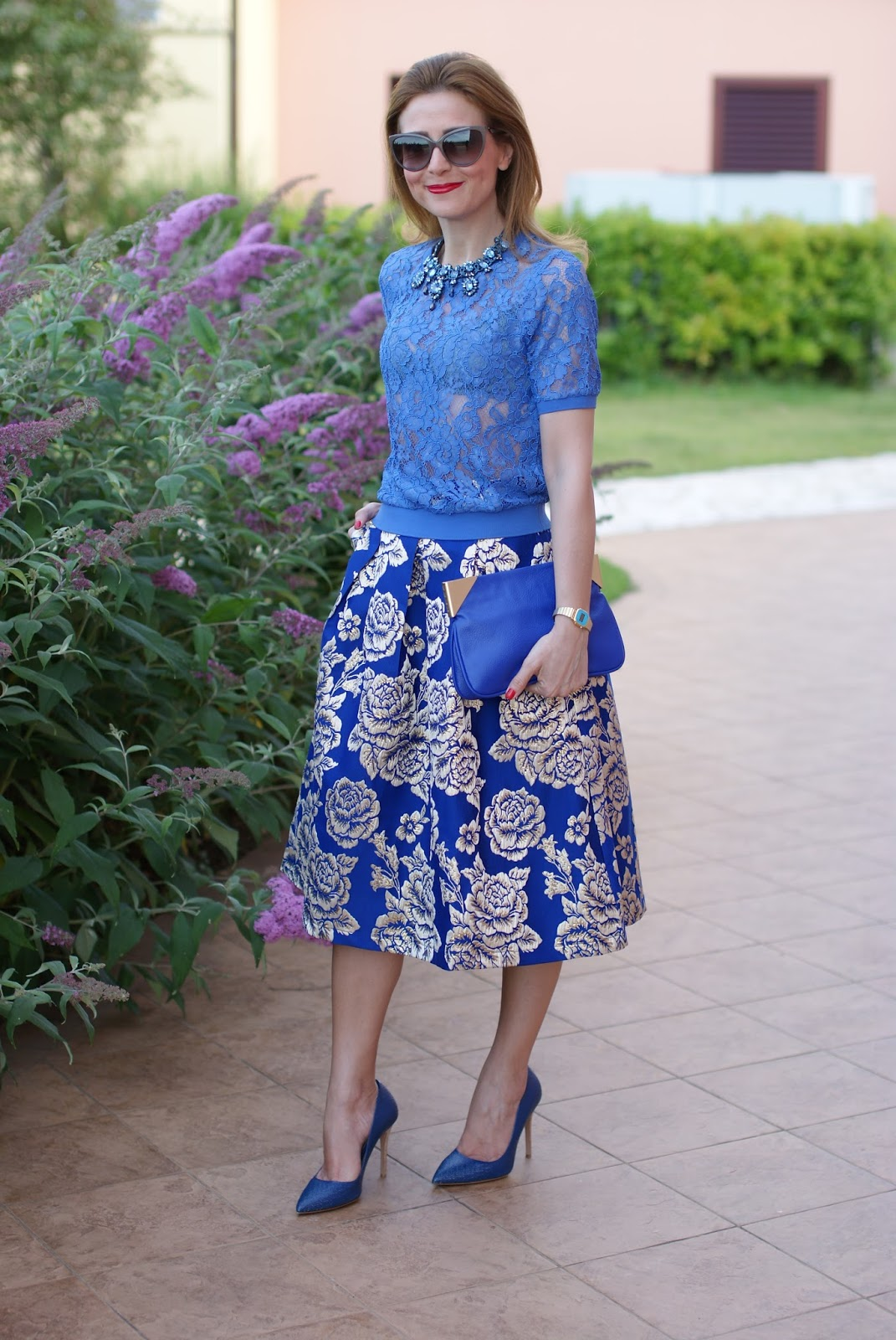 Jacquard midi skirt and see through lace t-shirt on Fashion and Cookies fashion blog, fashion blogger style