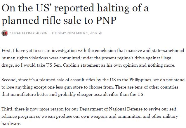 Sen. Lacson Claims That The Philippines Now Has A Reason To Produce Our Own Weapons Since The US Refuses To Sell Us Firearms!