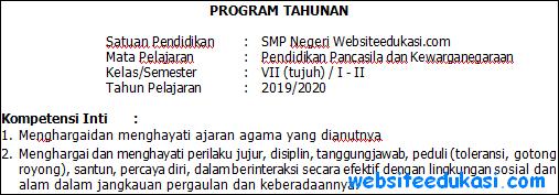 Prota PKn Kelas 7 Kurikulum 2013 Revisi Terbaru