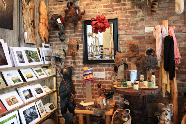 A collection of locally made gifts at Bear Hollow Wood Carvers in French Lick, Indiana