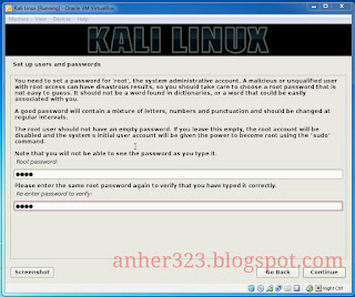 setting password Kali Linux