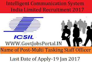 Intelligent Communication Systems India Limited Recruitment 2017 – 40 Multi Tasking Staff Officer