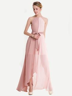 SHEIN Vestido asimétrico rosado de gasa con cordón