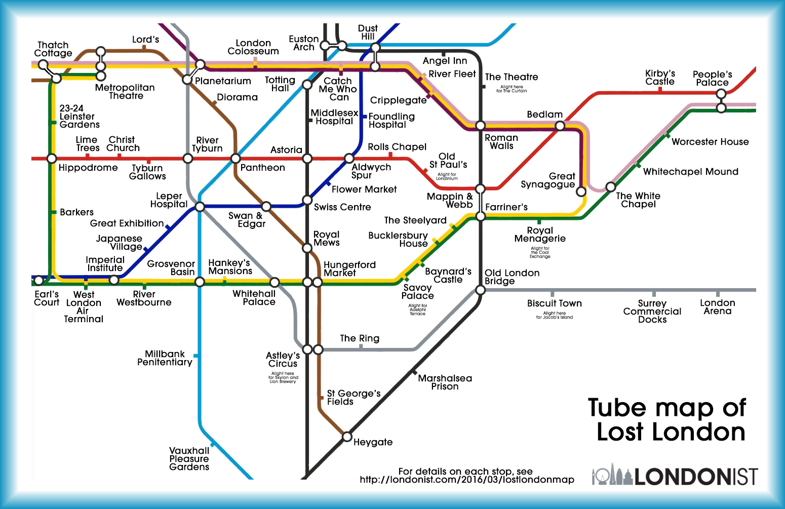 "Tube map of ""lost"" London"