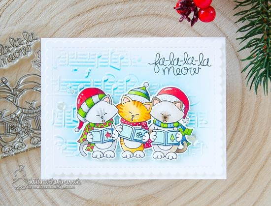 Caroling Cats Christmas card by Tatiana Trafivomich | Caroling Newton Stamp Set and Music Stencil by Newton's Nook Designs #newtonsnook #handmade
