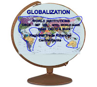 Graphic (c)Erika Grey of a globe and across the top of the globe it reads Globalization and below the term globalization is a map of the world and a blue line is drawn around the continents and joins them into a giant mass. Within the mass it reads in capital letters World Institutions OSCE, IMF, UN, WTO, World Bank, WHO, OECD & More and below it reads Regional trade alliances and central banks