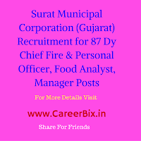 Surat Municipal Corporation (Gujarat) Recruitment for 87 Dy Chief Fire & Personal Officer, Food Analyst, Manager Posts