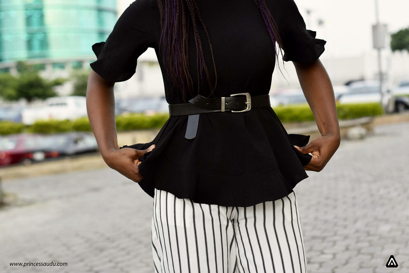 black and white, stripes, ruffles, buckle belts