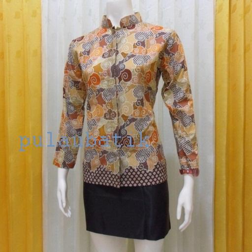 Batik Baju Kerja Wanita: Rancangan Baju Batik Kerja Untuk Wanita Lengan Panjang Dan