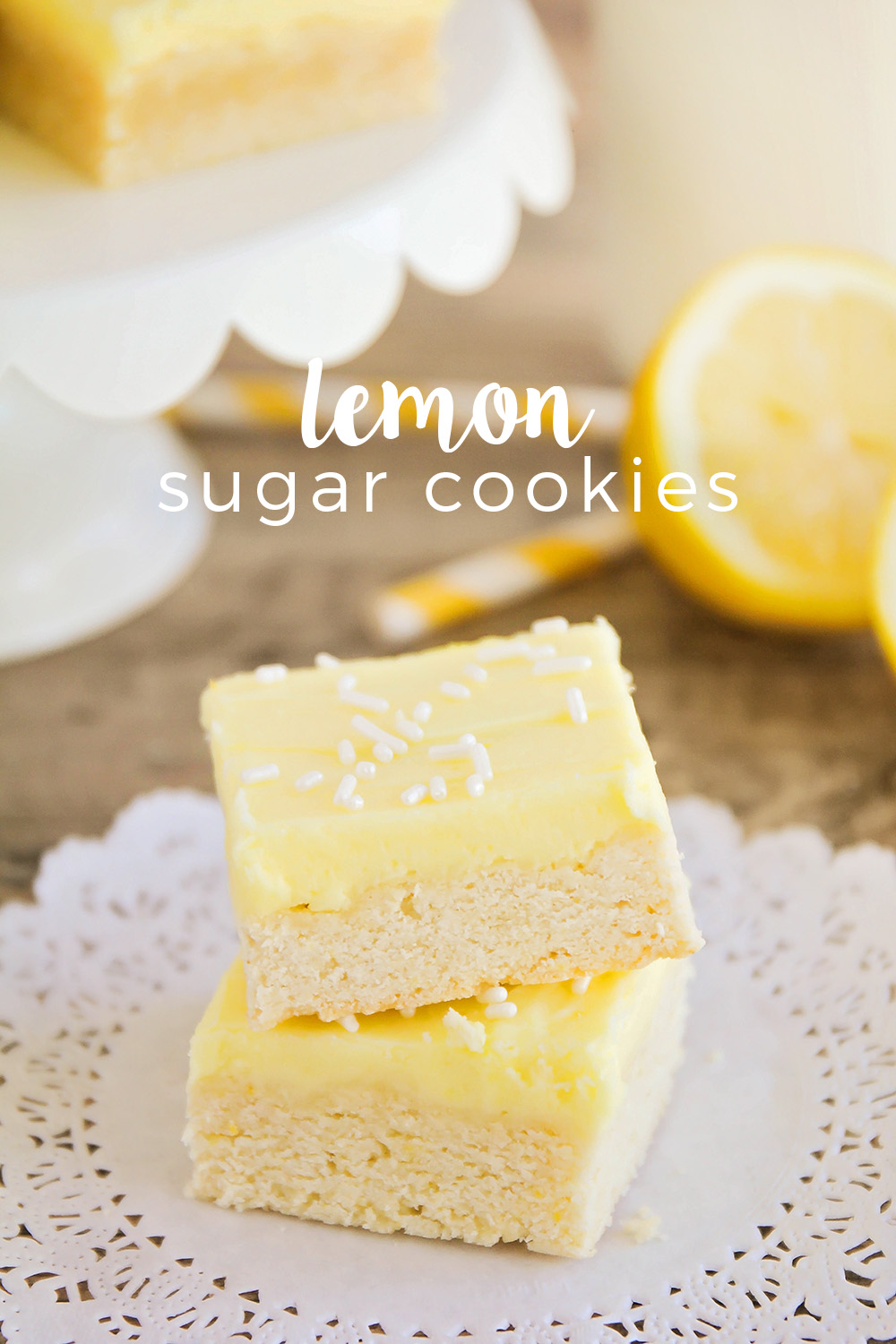 These sweet and tangy lemon sugar cookie bars are so delicious and easy to make. All the taste of sugar cookies without the annoying rolling and cutting!