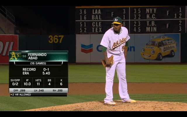截圖自5/15的比賽,Abad (Photo Credit: Comcast SportsNet California / MLB.TV)