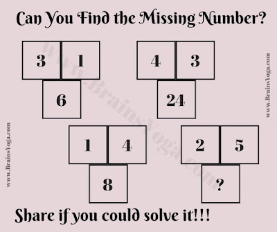 Logic Maths Brain Teaser to find the missing number