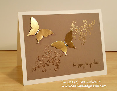 Golden Anniversary Card made with Gold Foil paper and Stampin'UP!'s Timeless Textures Stamp Set