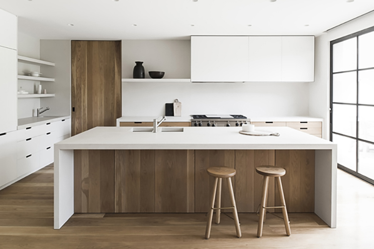 White and wood contemporary kitchen inspiration | East St Kilda House by Meme Architects, Photo by Tom Blachford