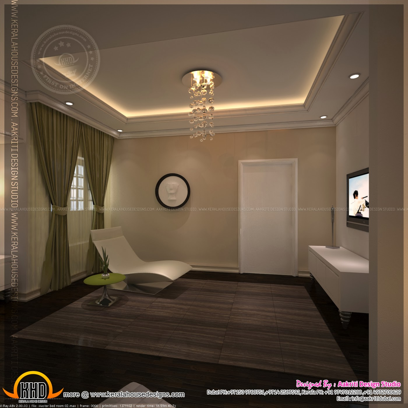Master bedroom and bathroom interior design