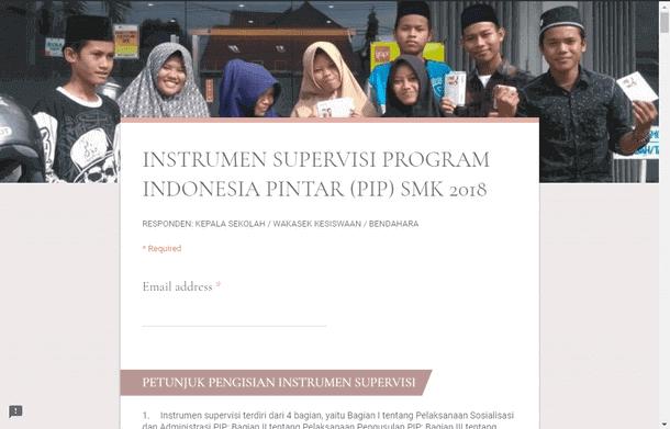 Instrumen Supervisi PIP, UKS, PPK, Minat dan Bakat SMK Tahun 2018