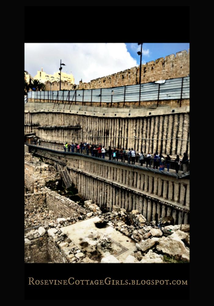 Holy Land Us descending ramp to archaeological dig