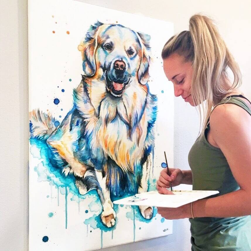 08-Dog-Lindsay-Michelle-Colorful-Domestic-and-Wild-Animal-Paintings